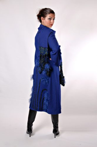 Boiled Wool Blue Winter Coat