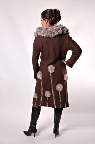 Boiled wool brown winter coat with flower accents