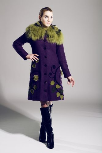 Boiled wool eggplant winter coat
