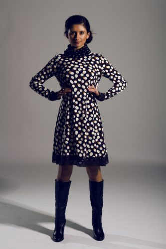 Knit polka dot dress with lace trim