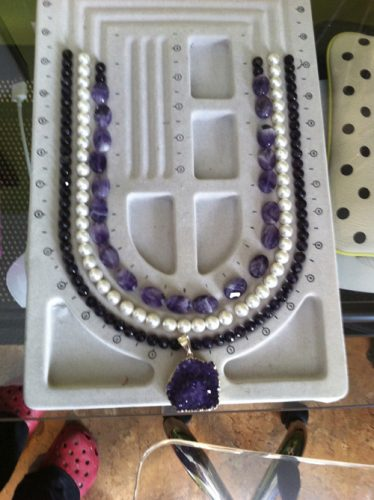 Necklace with Amethyst & Pearls (In Progress)
