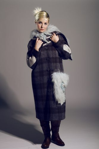 Plaid taupe/baby blue wool winter coat