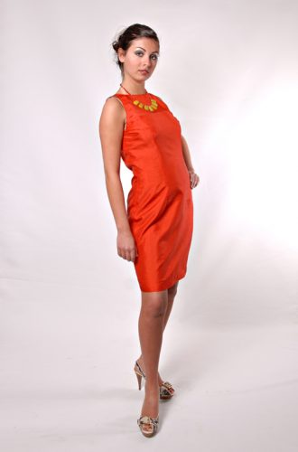 Vintage orange silk lined A-line dress